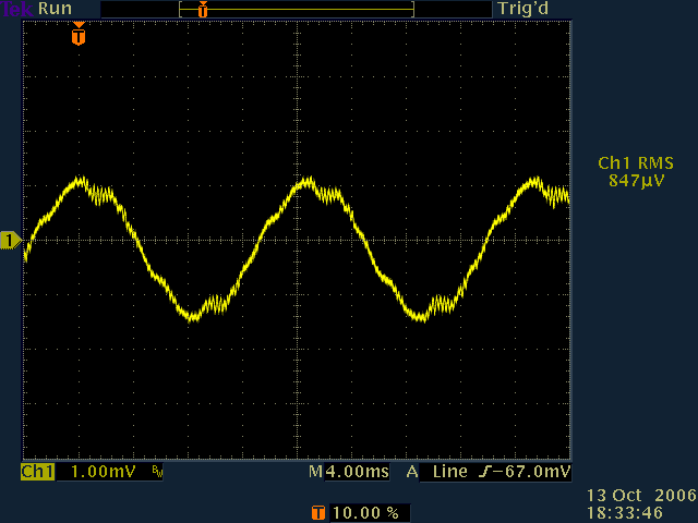 Scope trace of noise captured by a bass guitar pickup when the pickup hot is wound inward closest to the bass pickups magnetic parts
